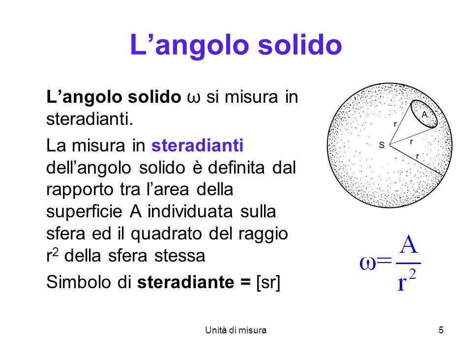 Unità di misura6 Se larco è lintera circonferenza (angolo giro) langolo corrispondente misura 2 radianti Se la superficie è lintera superficie sferica langolo solido corrispondente misura 4 steradianti