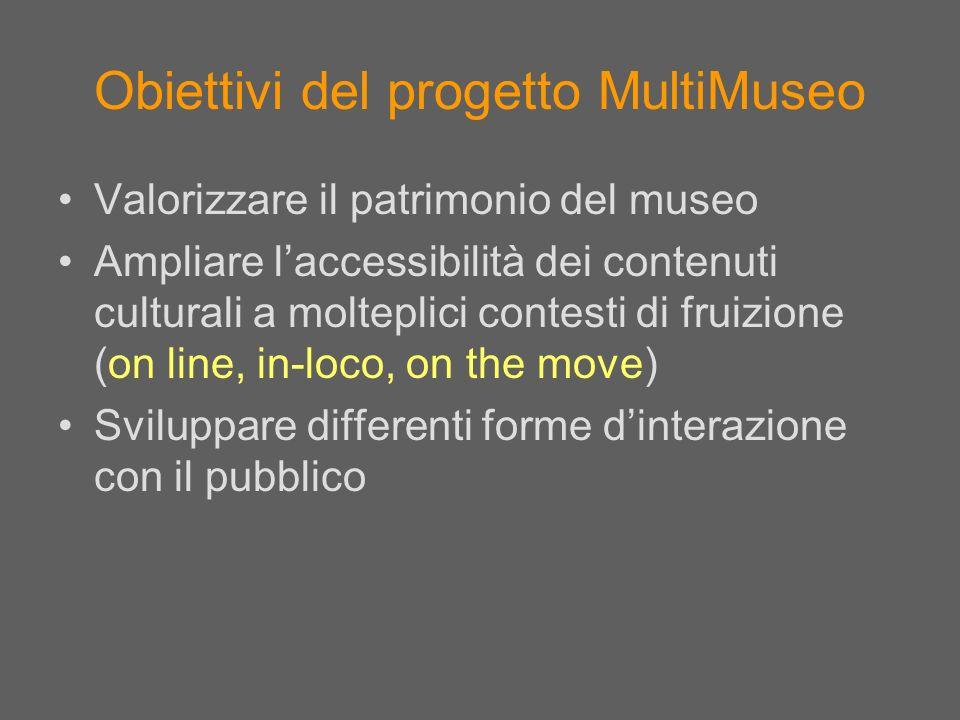 Obiettivi del progetto MultiMuseo Valorizzare il patrimonio del museo Ampliare laccessibilità dei contenuti culturali a molteplici contesti di fruizio