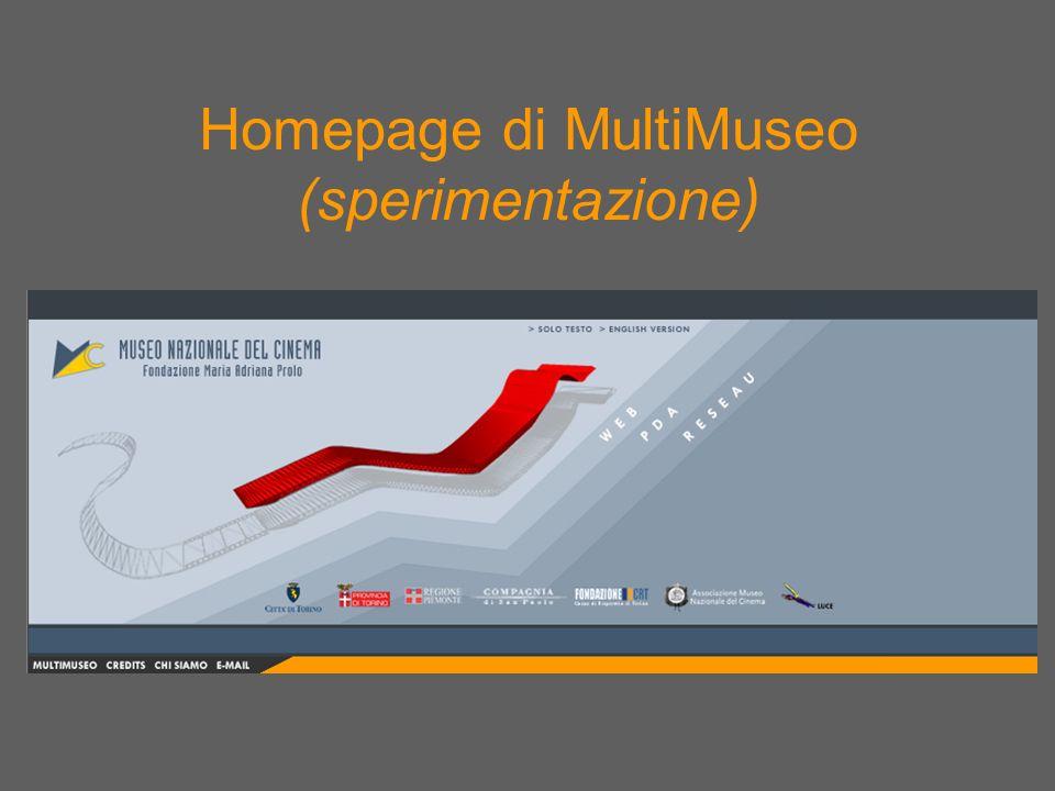 Homepage di MultiMuseo (sperimentazione)