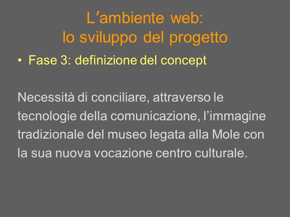 L ambiente web: lo sviluppo del progetto Fase 3: definizione del concept Necessità di conciliare, attraverso le tecnologie della comunicazione, limmag