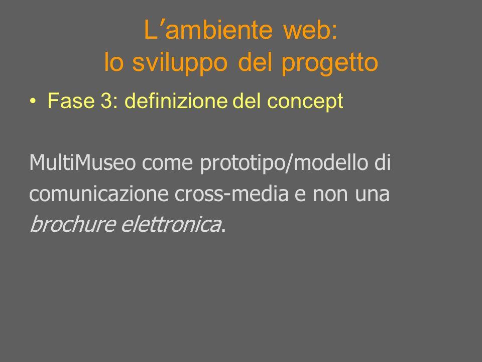 L ambiente web: lo sviluppo del progetto Fase 3: definizione del concept MultiMuseo come prototipo/modello di comunicazione cross-media e non una broc
