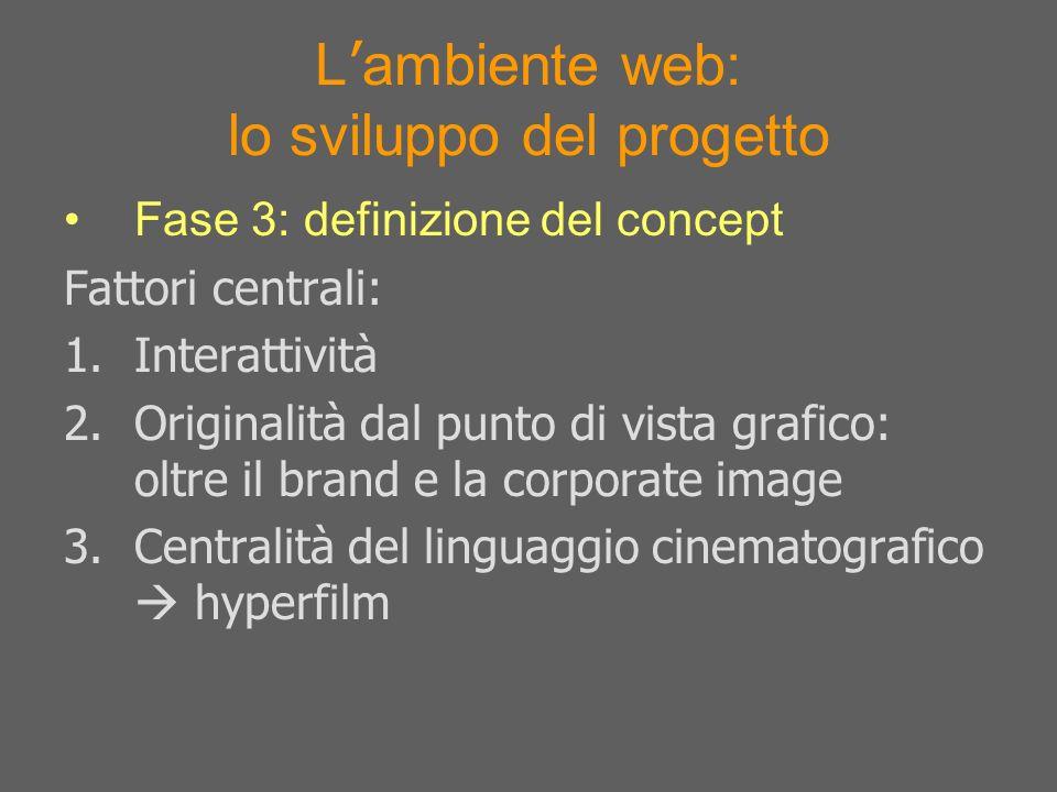 L ambiente web: lo sviluppo del progetto Fase 3: definizione del concept Fattori centrali: 1.Interattività 2.Originalità dal punto di vista grafico: o