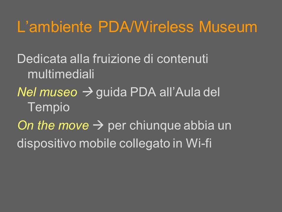 Lambiente PDA/Wireless Museum Dedicata alla fruizione di contenuti multimediali Nel museo guida PDA allAula del Tempio On the move per chiunque abbia