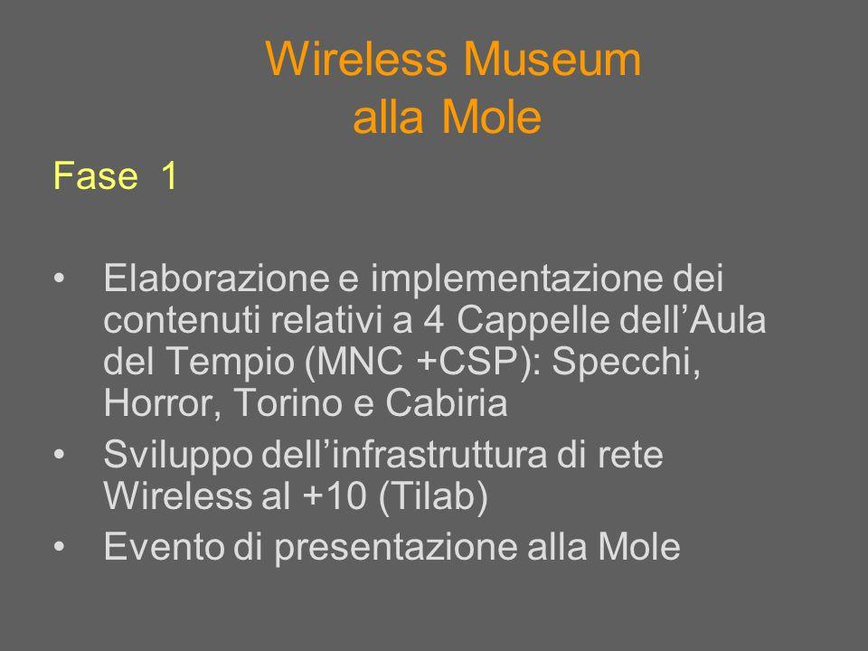 Wireless Museum alla Mole Fase 1 Elaborazione e implementazione dei contenuti relativi a 4 Cappelle dellAula del Tempio (MNC +CSP): Specchi, Horror, T
