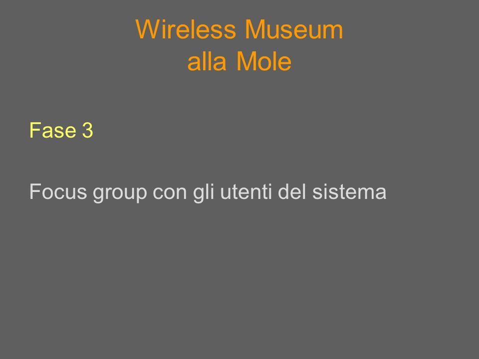 Wireless Museum alla Mole Fase 3 Focus group con gli utenti del sistema