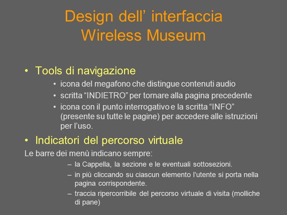 Design dell interfaccia Wireless Museum Tools di navigazione icona del megafono che distingue contenuti audio scritta INDIETRO per tornare alla pagina
