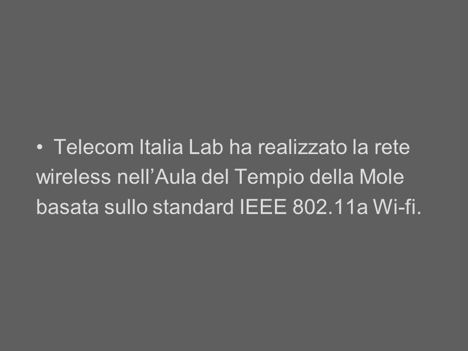 Telecom Italia Lab ha realizzato la rete wireless nellAula del Tempio della Mole basata sullo standard IEEE 802.11a Wi-fi.