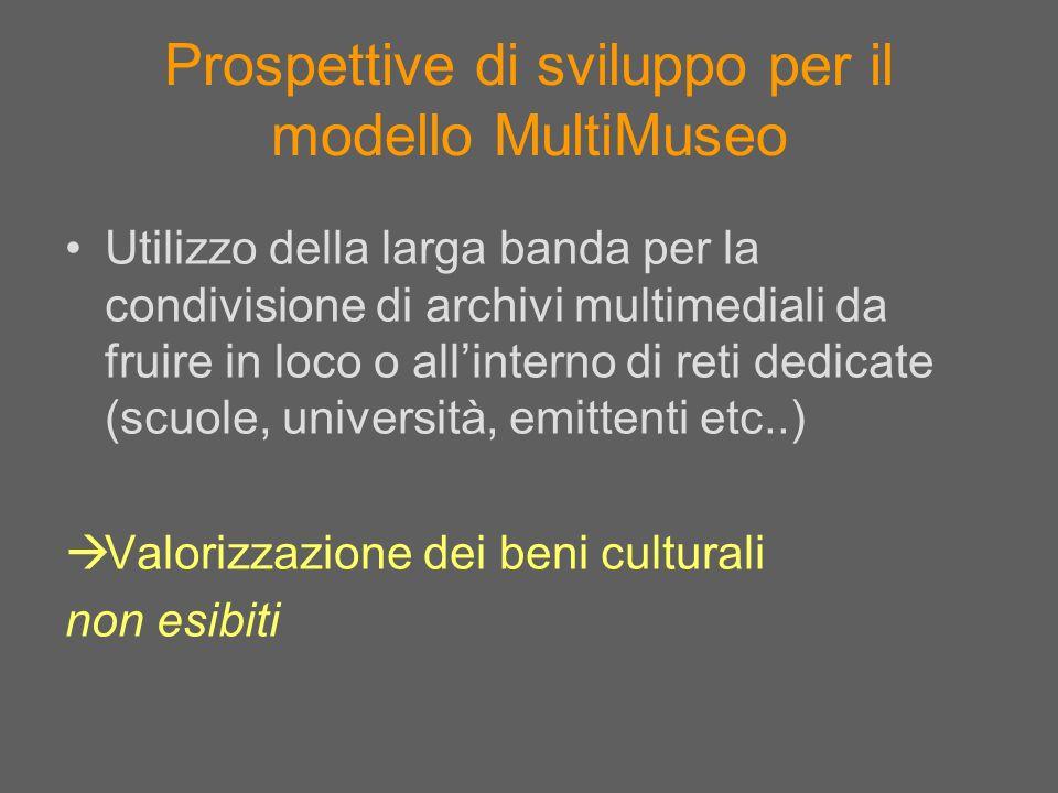 Prospettive di sviluppo per il modello MultiMuseo Utilizzo della larga banda per la condivisione di archivi multimediali da fruire in loco o allintern