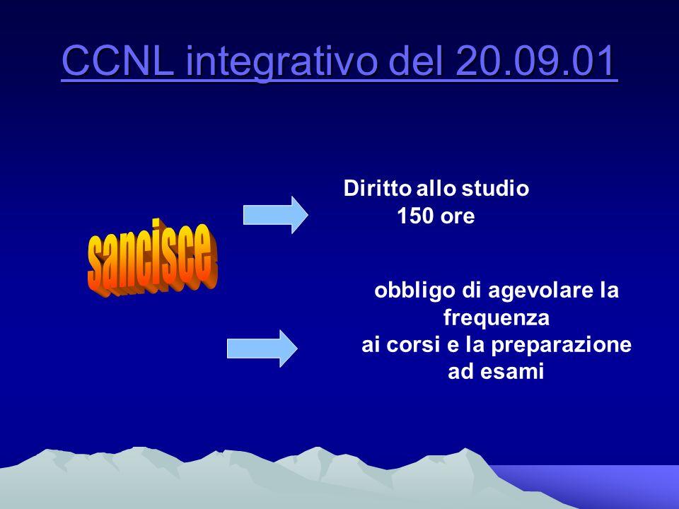 CCNL integrativo del 20.09.01 CCNL integrativo del 20.09.01 Diritto allo studio 150 ore obbligo di agevolare la frequenza ai corsi e la preparazione ad esami