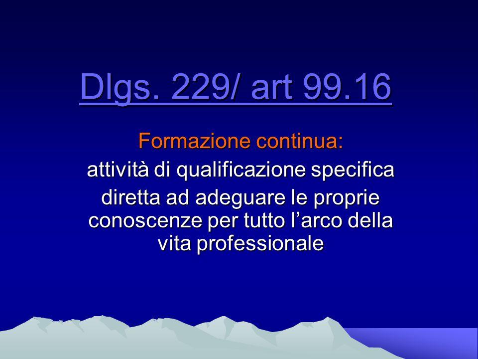 Dlgs. 229/99 art.16 Formazione continua : Formazione permanente Aggiornamento tecnico- scientifico
