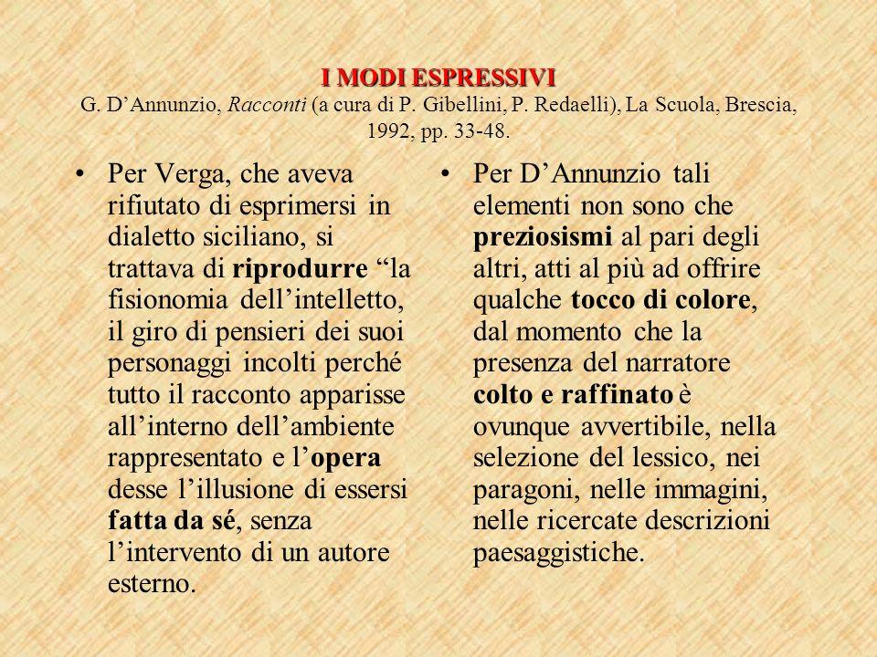 I MODI ESPRESSIVI I MODI ESPRESSIVI G. DAnnunzio, Racconti (a cura di P. Gibellini, P. Redaelli), La Scuola, Brescia, 1992, pp. 33-48. Per Verga, che