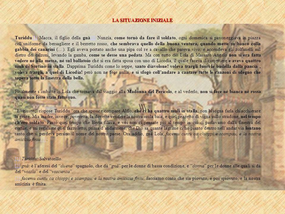 LA SITUAZIONE INIZIALE \\\ Turiddu[1] Macca, il figlio della gnà[2] Nunzia, come tornò da fare il soldato, ogni domenica si pavoneggiava in piazza col