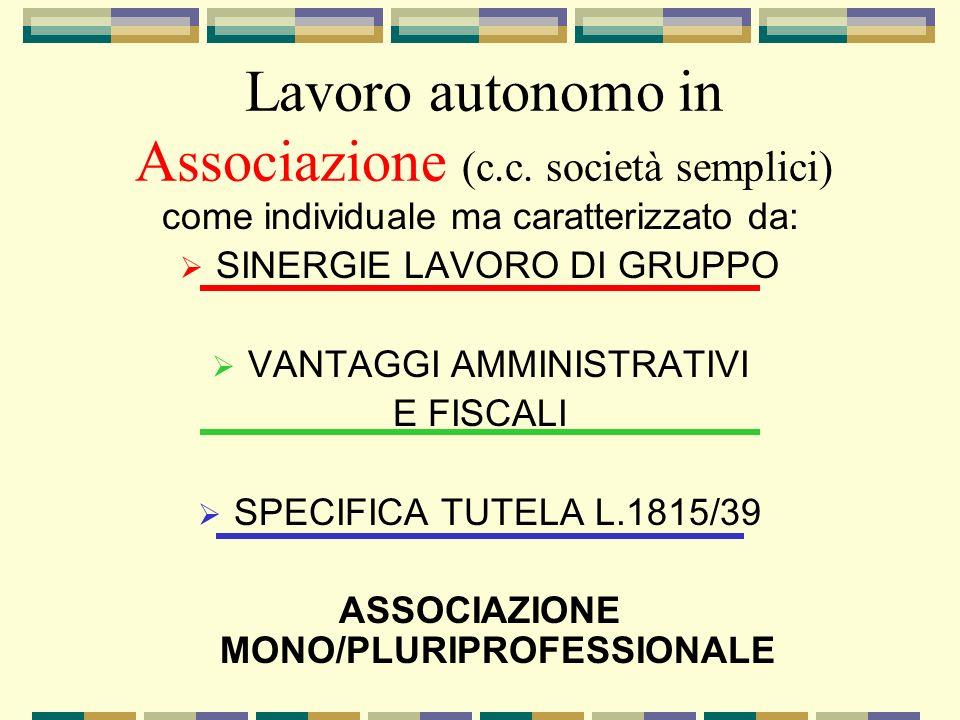Lavoro autonomo in Associazione (c.c. società semplici) come individuale ma caratterizzato da: SINERGIE LAVORO DI GRUPPO VANTAGGI AMMINISTRATIVI E FIS