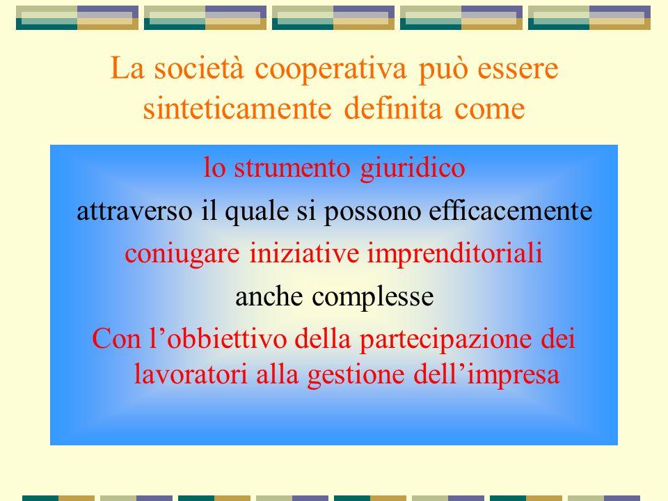 La società cooperativa può essere sinteticamente definita come lo strumento giuridico attraverso il quale si possono efficacemente coniugare iniziative imprenditoriali anche complesse Con lobbiettivo della partecipazione dei lavoratori alla gestione dellimpresa