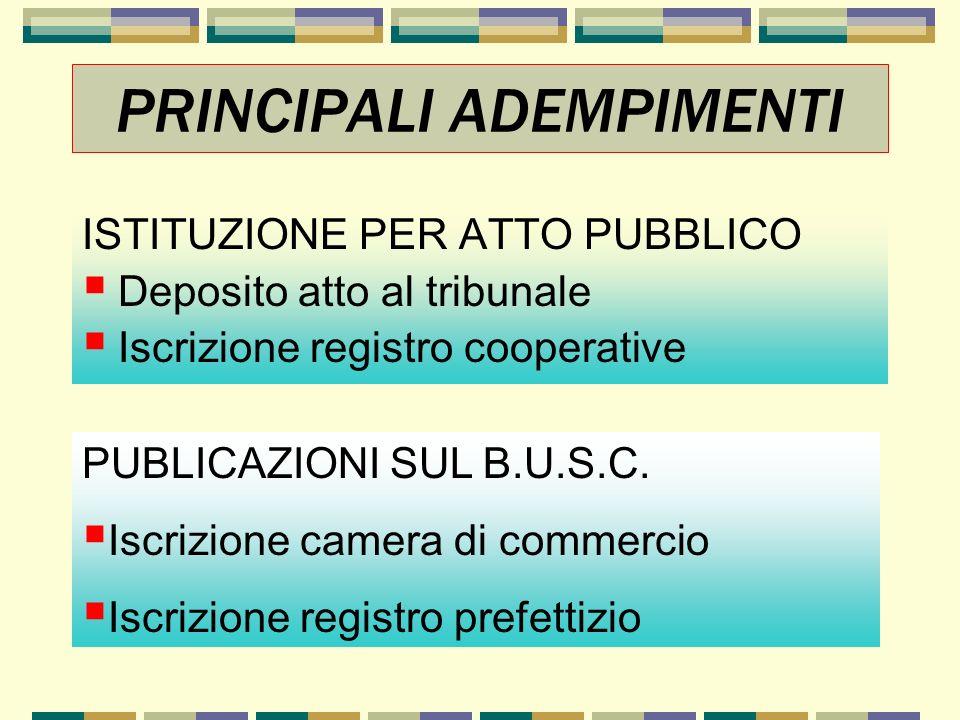 ISTITUZIONE PER ATTO PUBBLICO Deposito atto al tribunale Iscrizione registro cooperative PRINCIPALI ADEMPIMENTI PUBLICAZIONI SUL B.U.S.C. Iscrizione c