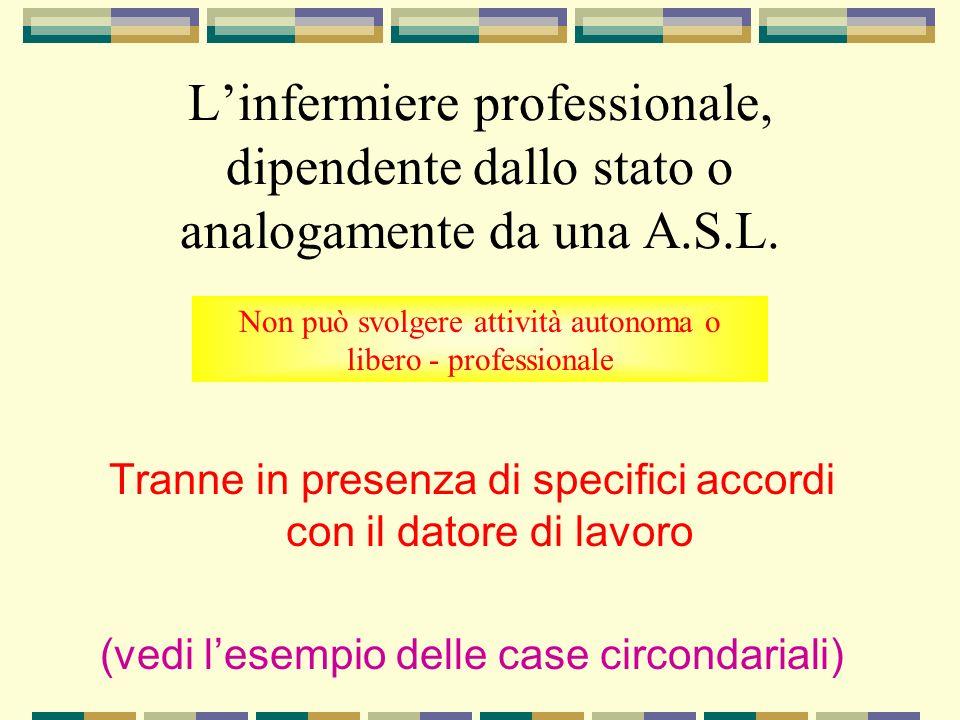 Linfermiere professionale, dipendente dallo stato o analogamente da una A.S.L. Tranne in presenza di specifici accordi con il datore di lavoro (vedi l