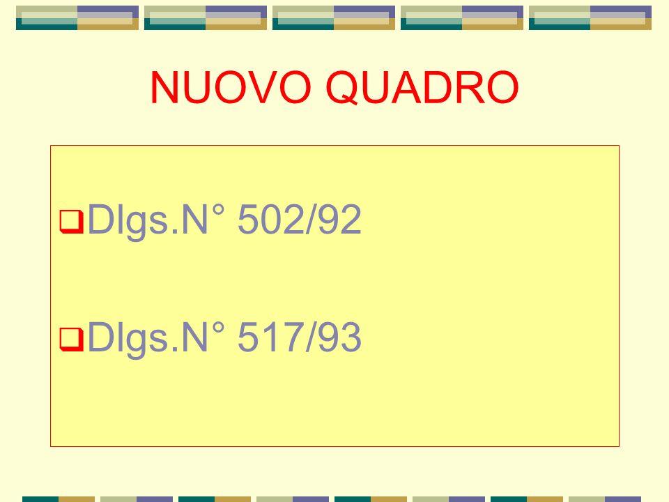 NUOVO QUADRO Dlgs.N° 502/92 Dlgs.N° 517/93