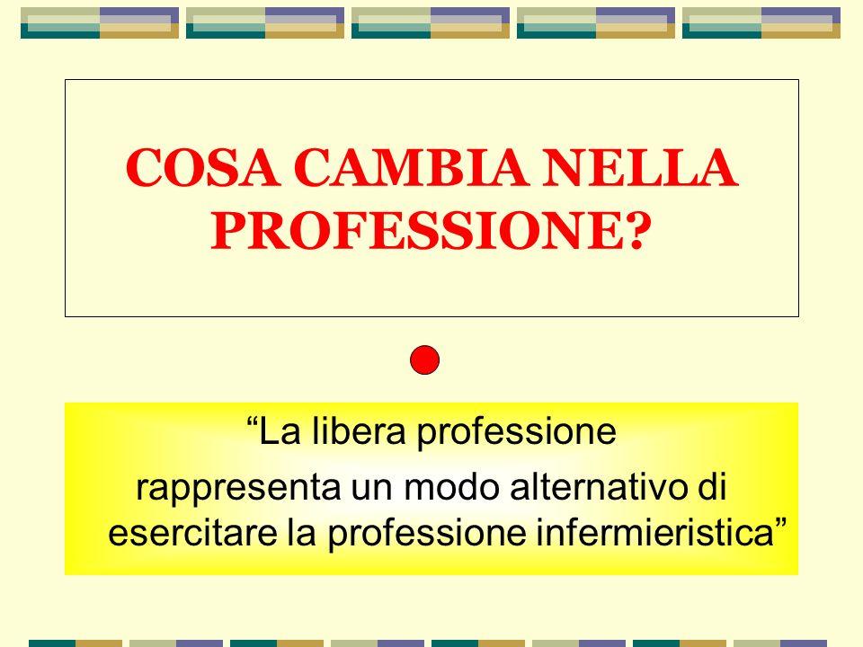 COSA CAMBIA NELLA PROFESSIONE? La libera professione rappresenta un modo alternativo di esercitare la professione infermieristica