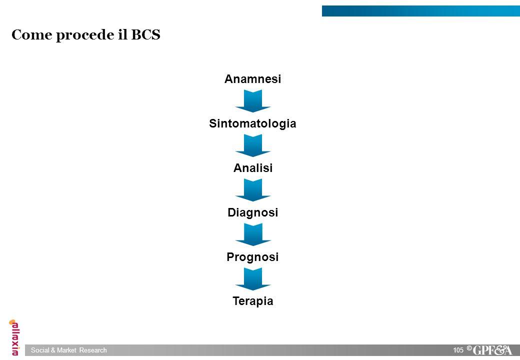 Social & Market Research105 © Come procede il BCS Terapia Sintomatologia Analisi Diagnosi Prognosi Anamnesi