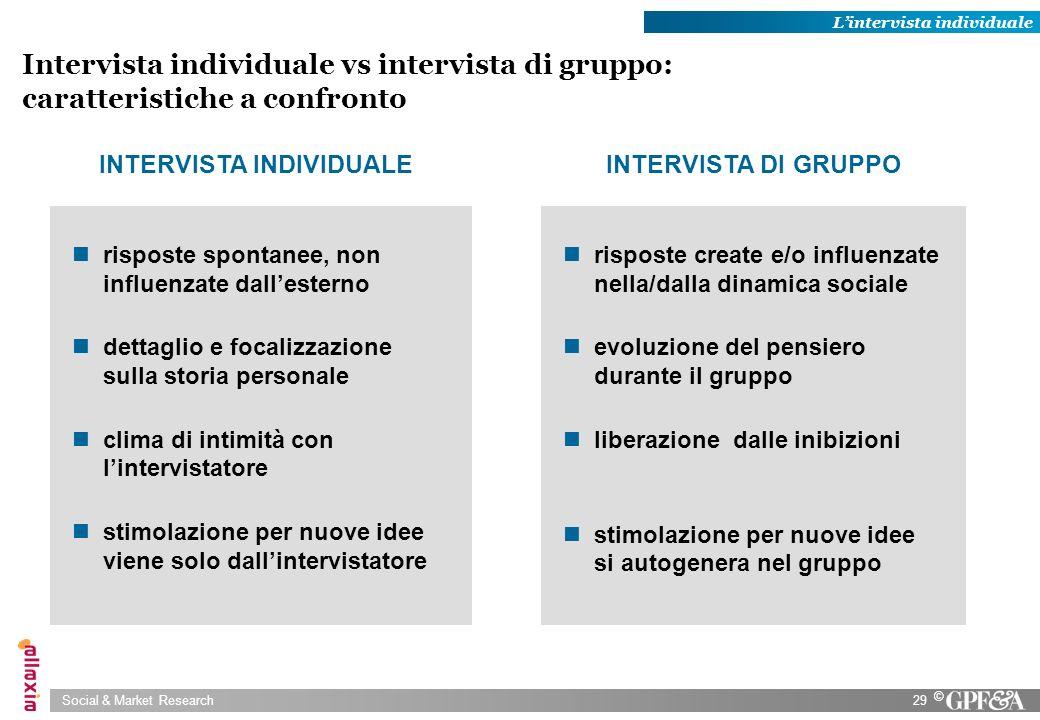 Social & Market Research29 © Intervista individuale vs intervista di gruppo: caratteristiche a confronto risposte spontanee, non influenzate dallester