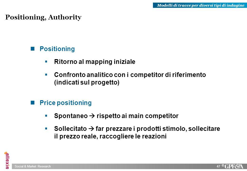 Social & Market Research47 © Positioning Ritorno al mapping iniziale Confronto analitico con i competitor di riferimento (indicati sul progetto) Price