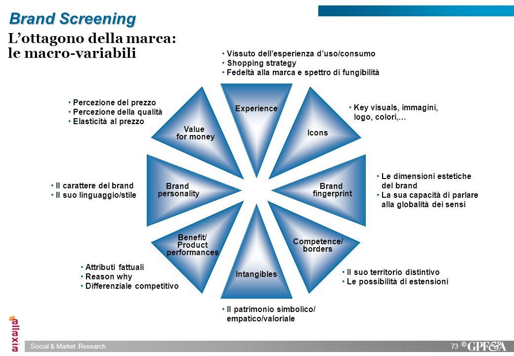 Social & Market Research73 © Brand Screening Lottagono della marca: le macro-variabili Brand fingerprint Le dimensioni estetiche del brand La sua capa
