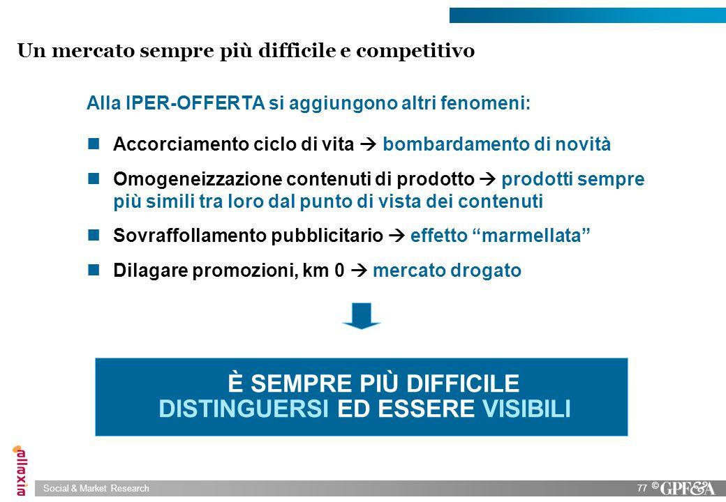 Social & Market Research77 © Un mercato sempre più difficile e competitivo Alla IPER-OFFERTA si aggiungono altri fenomeni: Accorciamento ciclo di vita