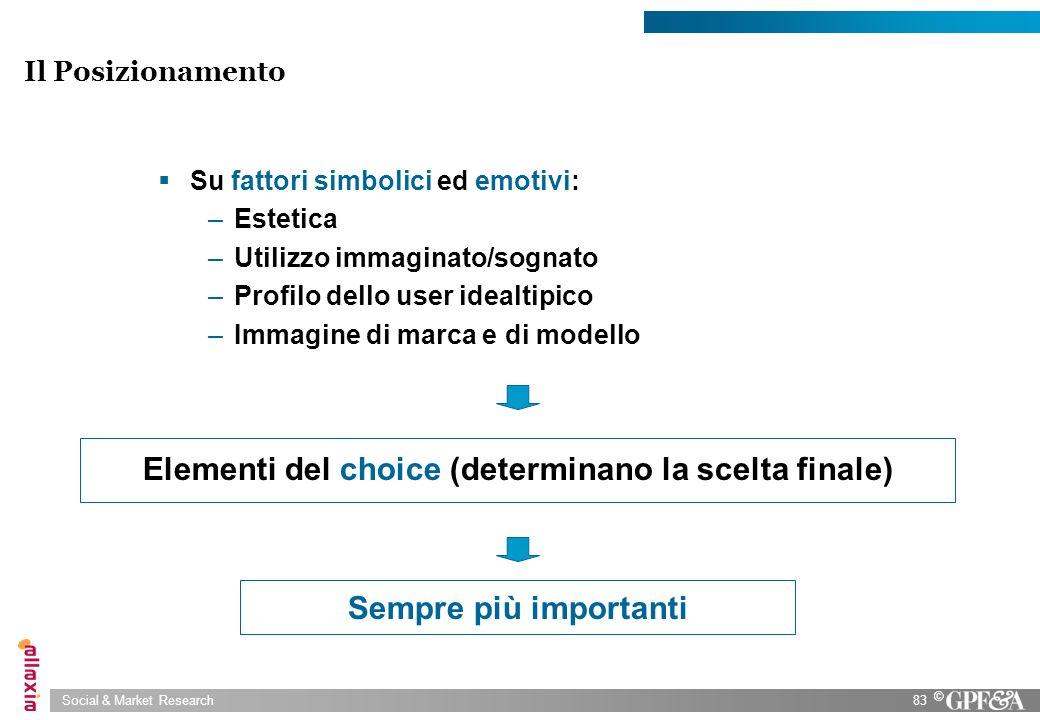 Social & Market Research83 © Il Posizionamento Su fattori simbolici ed emotivi: –Estetica –Utilizzo immaginato/sognato –Profilo dello user idealtipico