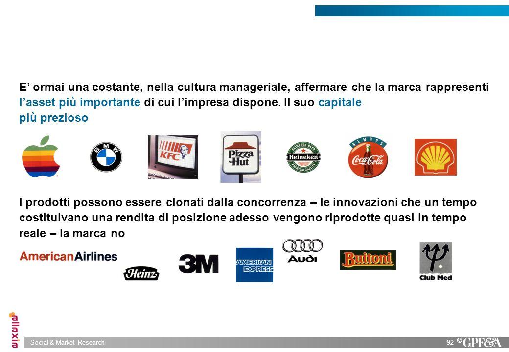 Social & Market Research92 © E ormai una costante, nella cultura manageriale, affermare che la marca rappresenti lasset più importante di cui limpresa
