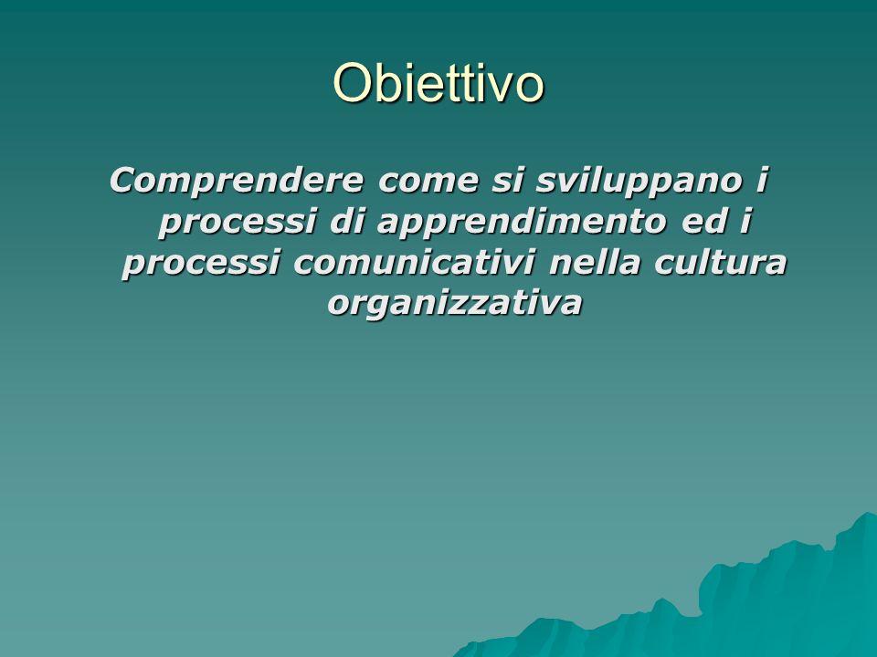 Obiettivo Comprendere come si sviluppano i processi di apprendimento ed i processi comunicativi nella cultura organizzativa