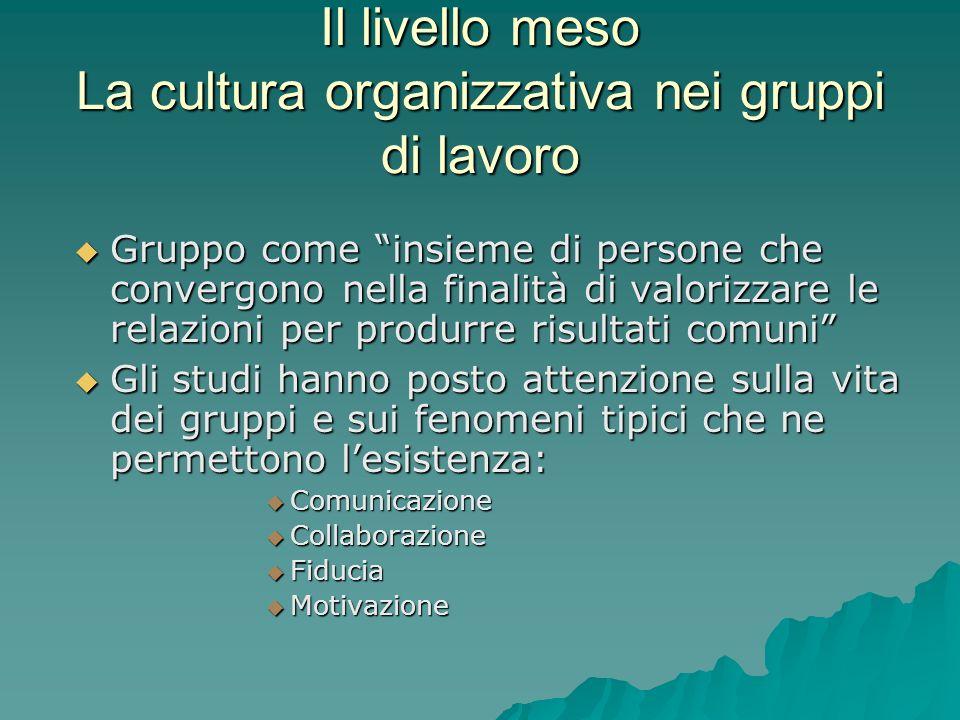 Il livello meso La cultura organizzativa nei gruppi di lavoro Gruppo come insieme di persone che convergono nella finalità di valorizzare le relazioni