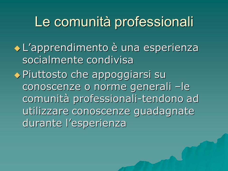 Le comunità professionali Lapprendimento è una esperienza socialmente condivisa Lapprendimento è una esperienza socialmente condivisa Piuttosto che ap