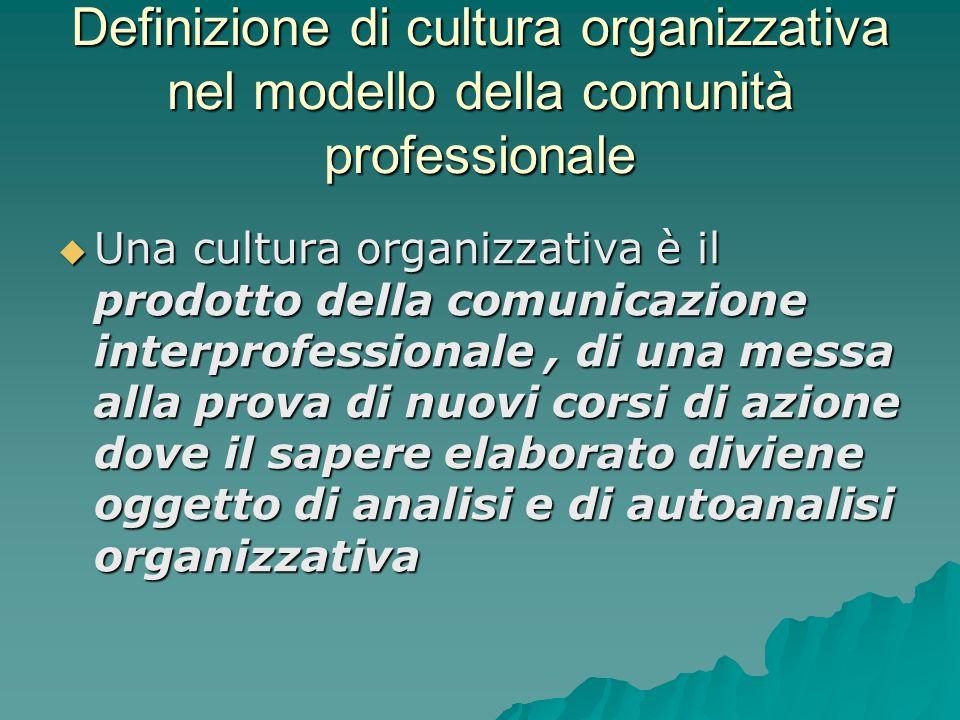 Definizione di cultura organizzativa nel modello della comunità professionale Una cultura organizzativa è il prodotto della comunicazione interprofess