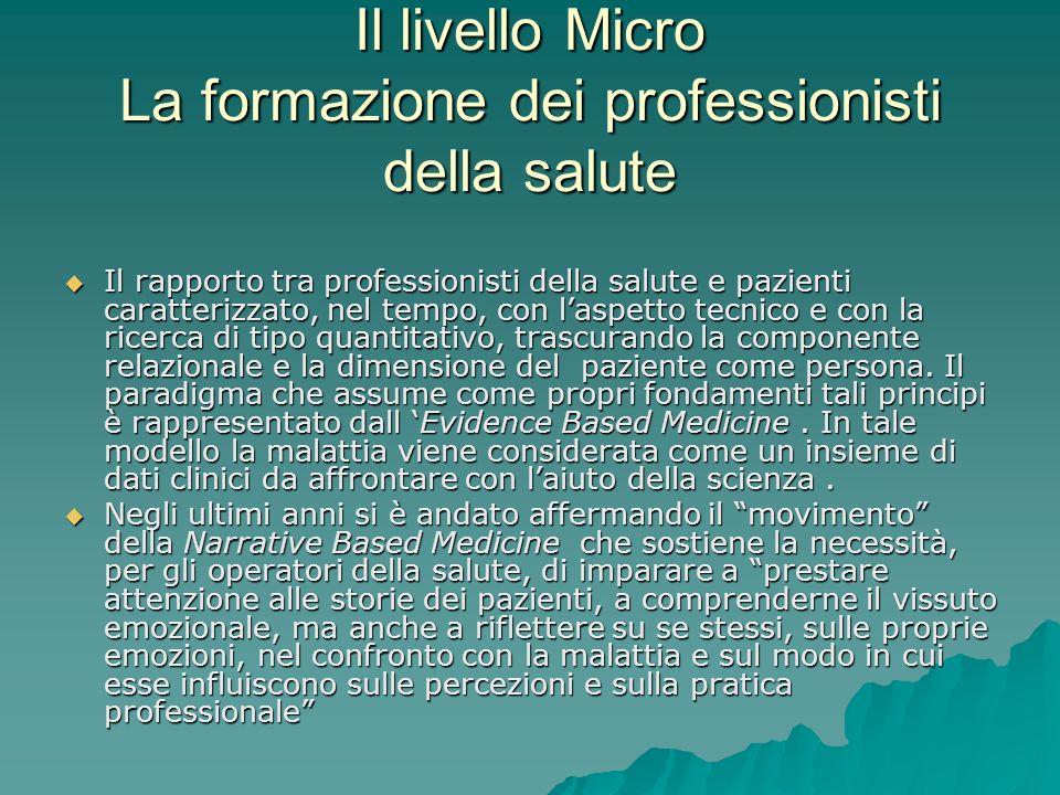 Il livello Micro La formazione dei professionisti della salute Il rapporto tra professionisti della salute e pazienti caratterizzato, nel tempo, con l