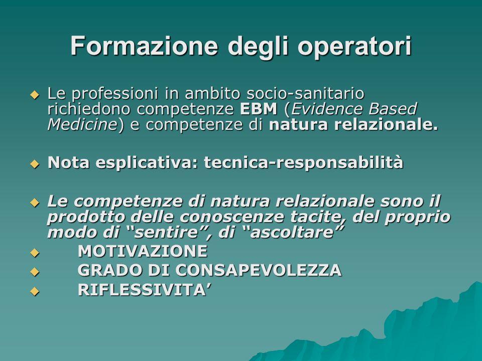 Formazione degli operatori Le professioni in ambito socio-sanitario richiedono competenze EBM (Evidence Based Medicine) e competenze di natura relazio