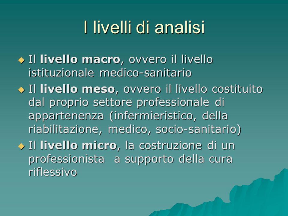 I livelli di analisi Il livello macro, ovvero il livello istituzionale medico-sanitario Il livello macro, ovvero il livello istituzionale medico-sanit