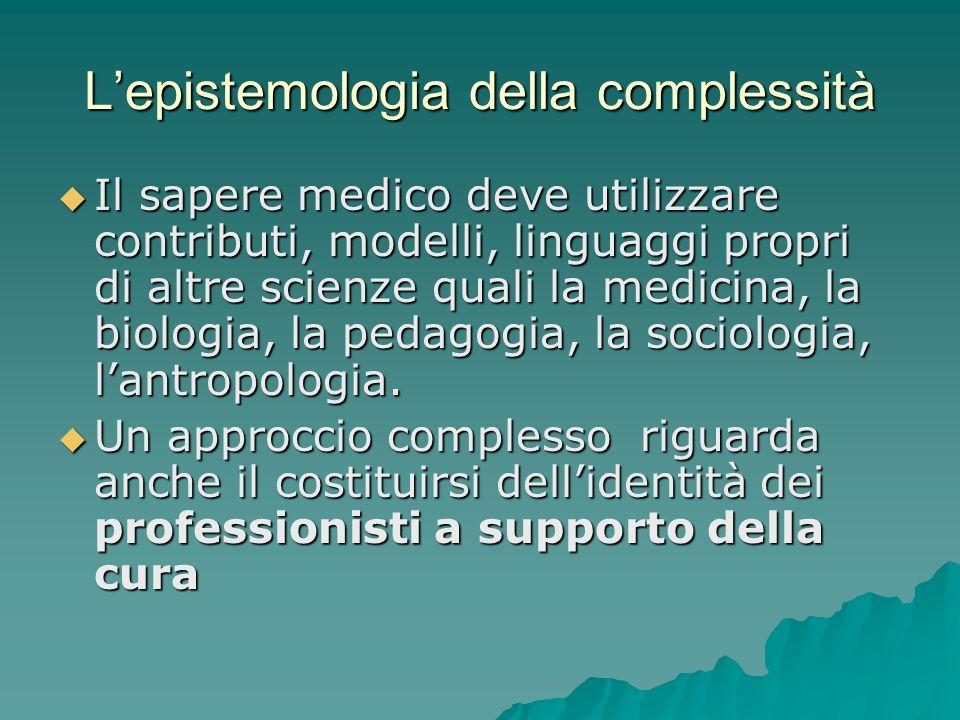 Lepistemologia della complessità Il sapere medico deve utilizzare contributi, modelli, linguaggi propri di altre scienze quali la medicina, la biologi