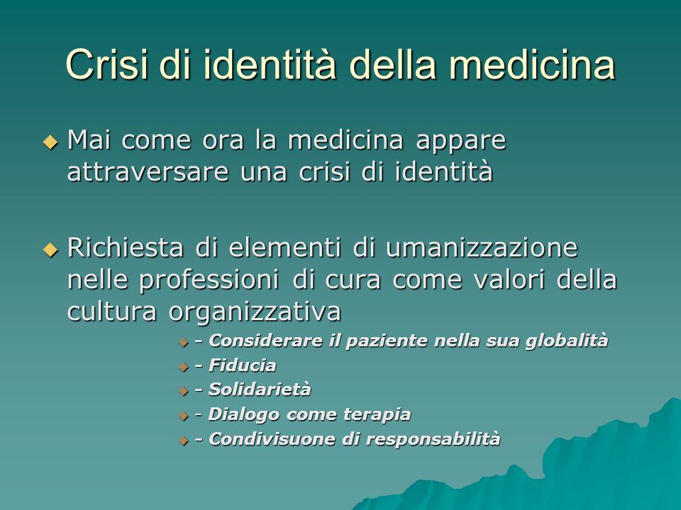 Crisi di identità della medicina Mai come ora la medicina appare attraversare una crisi di identità Mai come ora la medicina appare attraversare una c