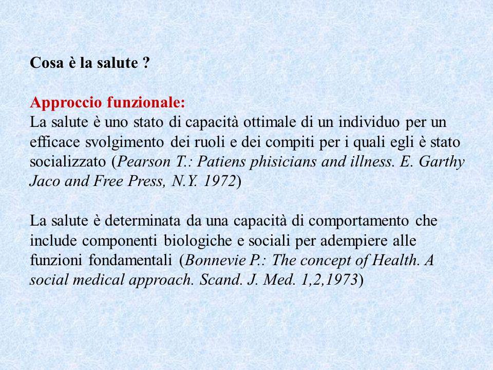 Cosa è la salute ? Approccio funzionale: La salute è uno stato di capacità ottimale di un individuo per un efficace svolgimento dei ruoli e dei compit