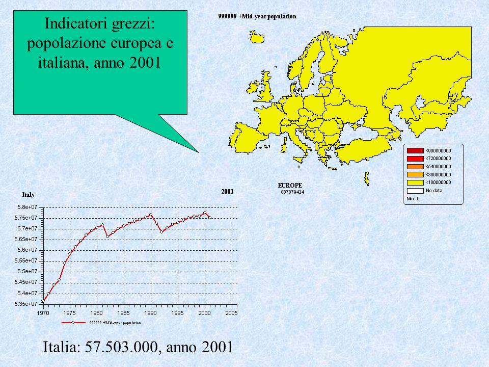 Indicatori grezzi: popolazione europea e italiana, anno 2001 Italia: 57.503.000, anno 2001