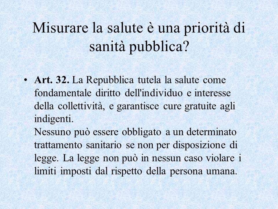 Misurare la salute è una priorità di sanità pubblica? Art. 32. La Repubblica tutela la salute come fondamentale diritto dell'individuo e interesse del