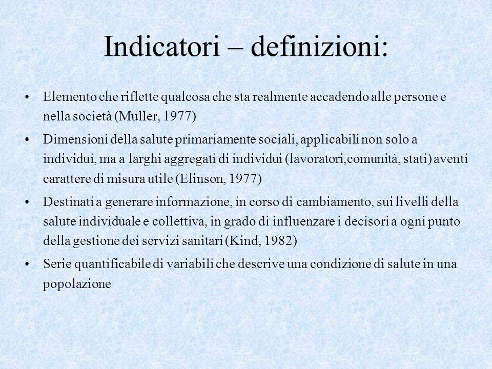 Indicatori – definizioni: Elemento che riflette qualcosa che sta realmente accadendo alle persone e nella società (Muller, 1977) Dimensioni della salu