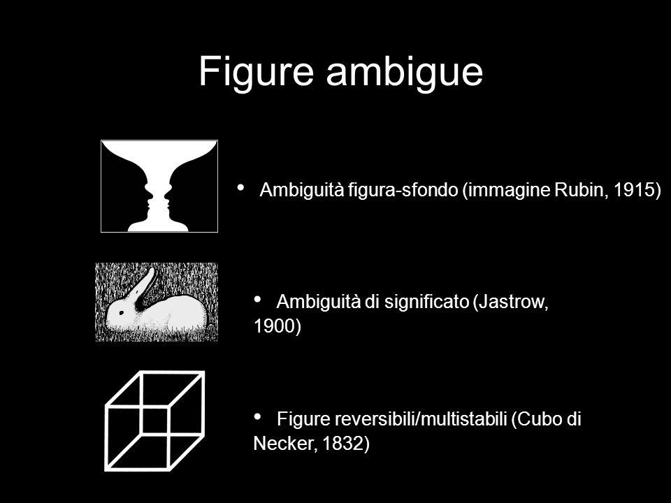 Figure ambigue Ambiguità di significato (Jastrow, 1900) Figure reversibili/multistabili (Cubo di Necker, 1832) Ambiguità figura-sfondo (immagine Rubin