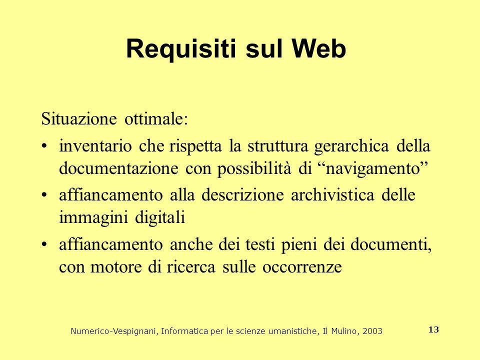Numerico-Vespignani, Informatica per le scienze umanistiche, Il Mulino, 2003 13 Requisiti sul Web Situazione ottimale: inventario che rispetta la stru