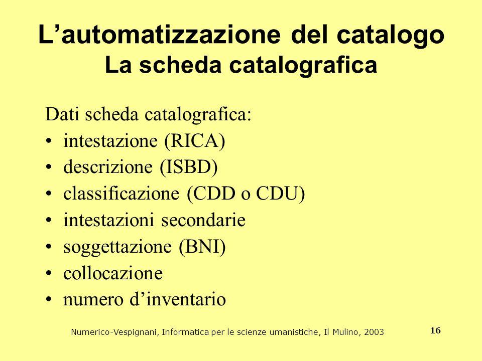 Numerico-Vespignani, Informatica per le scienze umanistiche, Il Mulino, 2003 16 Lautomatizzazione del catalogo La scheda catalografica Dati scheda cat