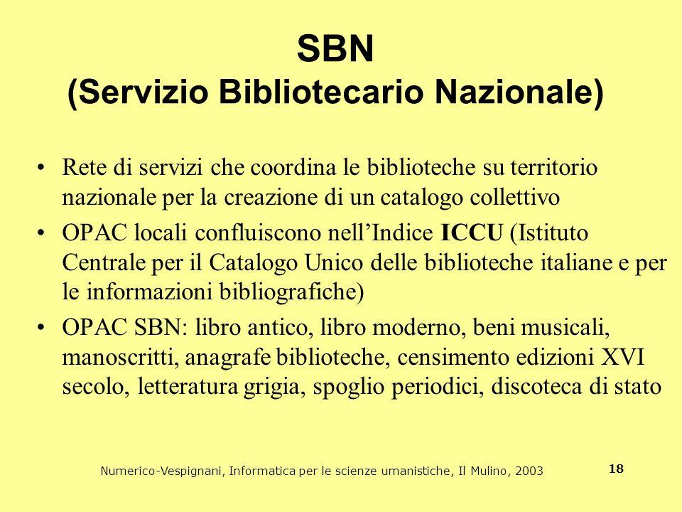 Numerico-Vespignani, Informatica per le scienze umanistiche, Il Mulino, 2003 18 SBN (Servizio Bibliotecario Nazionale) Rete di servizi che coordina le
