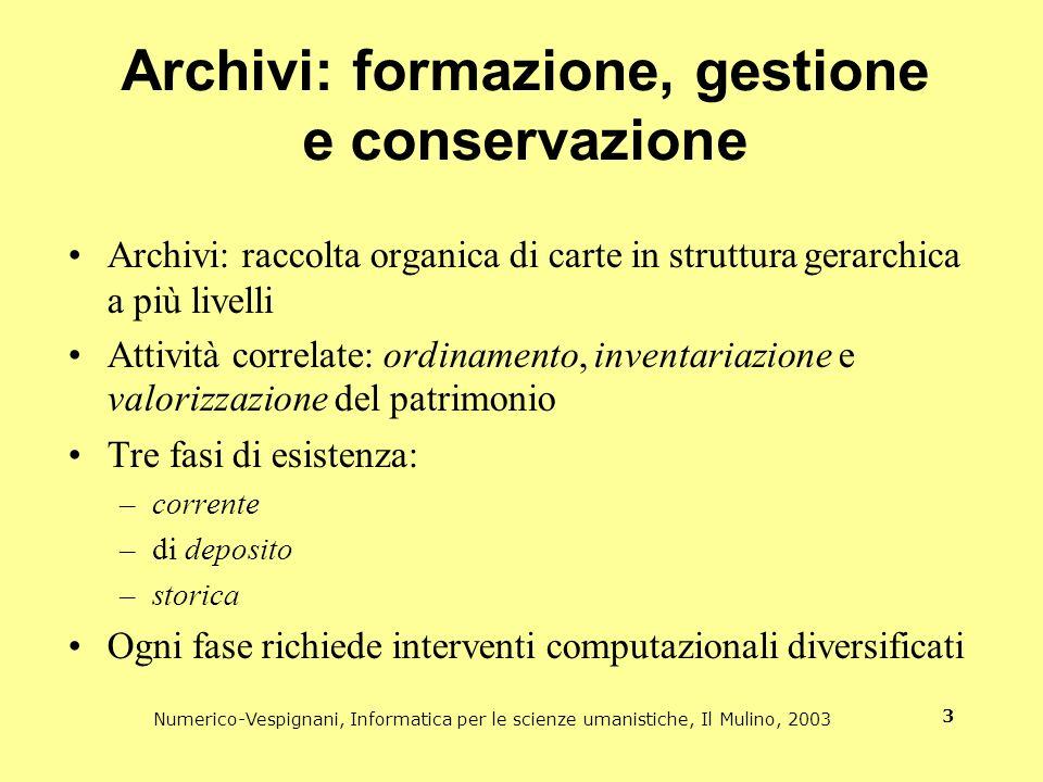 Numerico-Vespignani, Informatica per le scienze umanistiche, Il Mulino, 2003 3 Archivi: formazione, gestione e conservazione Archivi: raccolta organic