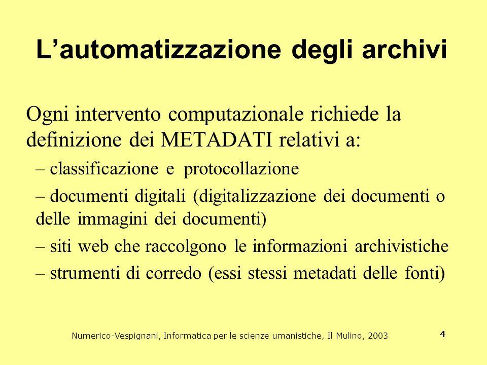 Numerico-Vespignani, Informatica per le scienze umanistiche, Il Mulino, 2003 4 Lautomatizzazione degli archivi Ogni intervento computazionale richiede