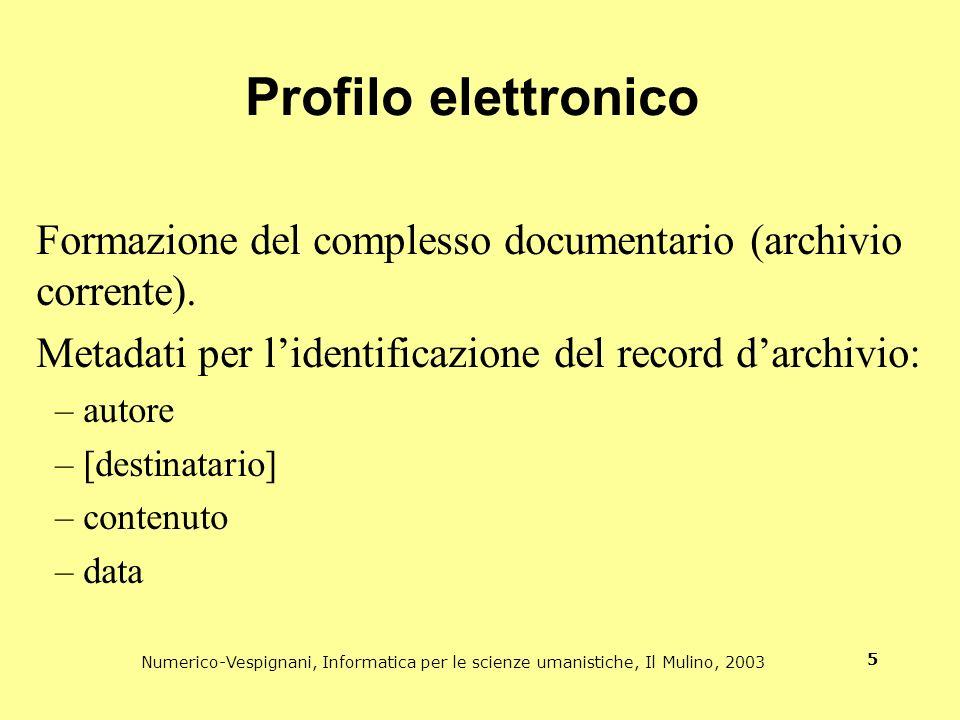 Numerico-Vespignani, Informatica per le scienze umanistiche, Il Mulino, 2003 5 Profilo elettronico Formazione del complesso documentario (archivio cor