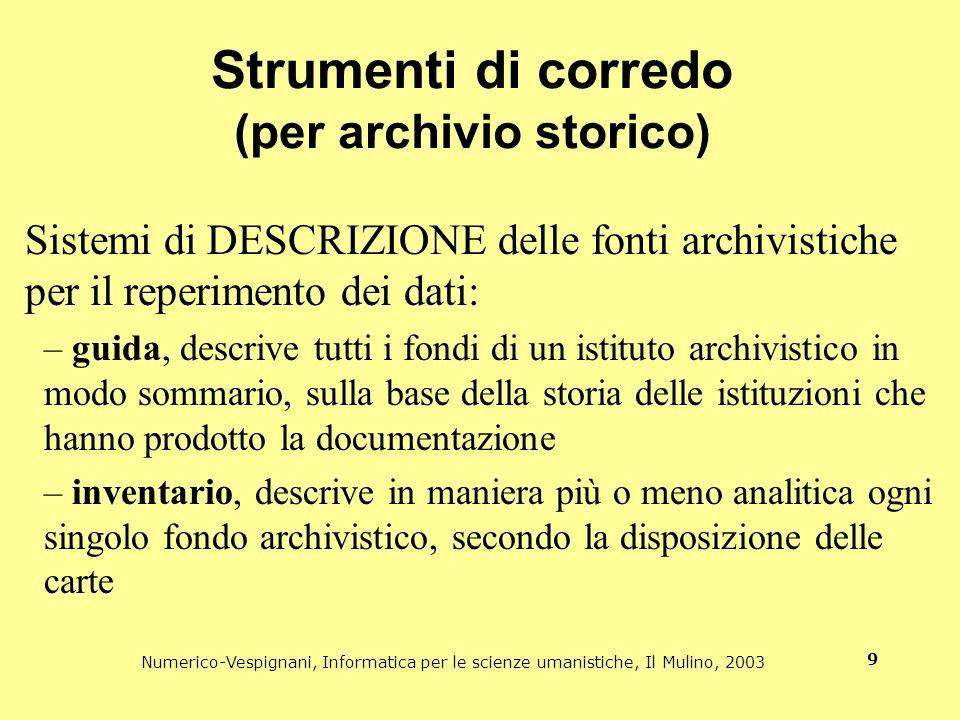Numerico-Vespignani, Informatica per le scienze umanistiche, Il Mulino, 2003 9 Strumenti di corredo (per archivio storico) Sistemi di DESCRIZIONE dell